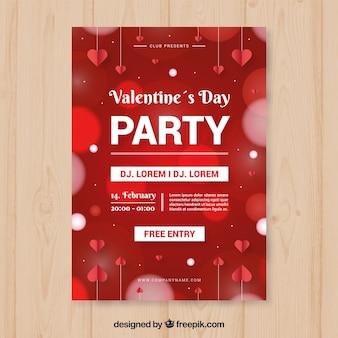 Modello di manifesto partito sfocato cerchi san valentino