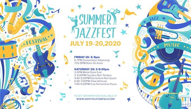 Modello di manifesto piatto festival jazz