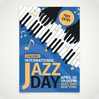 Modello di manifesto piatto giornata internazionale del jazz