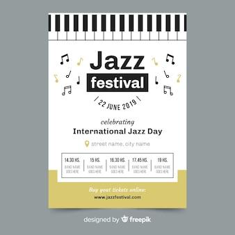 Modello di manifesto piatto giorno jazz internazionale
