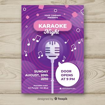 Modello di manifesto piatto karaoke notte