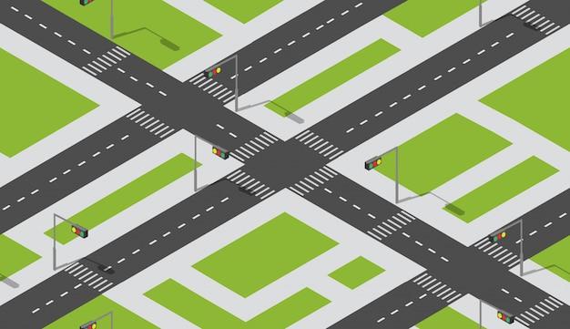 Modello di mappa città senza soluzione di continuità, struttura isometrica di un paesaggio