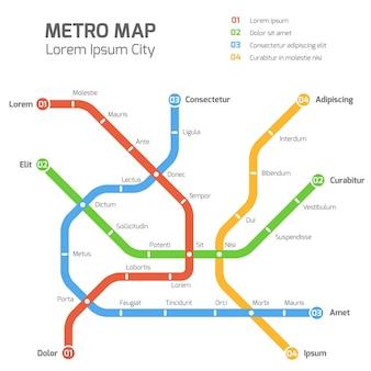 Modello di mappa vettoriale di metropolitana