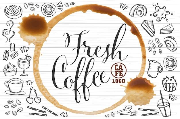 Modello di marchio di caffè fresco con caffè e elemento di panetteria