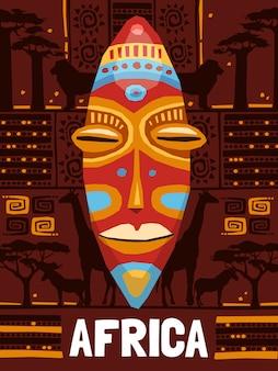 Modello di maschera etnica tribale