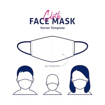 Modello di maschera viso in tessuto con anteprima del viso maschile, femminile e per bambini