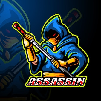 Modello di mascotte logo assassino esport