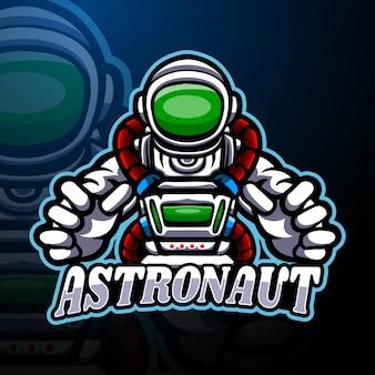 Modello di mascotte logo astronauta esport