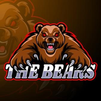 Modello di mascotte logo orso esport