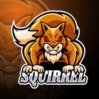 Modello di mascotte logo scoiattolo esport