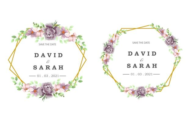 Modello di matrimonio con bella cornice di fiori viola