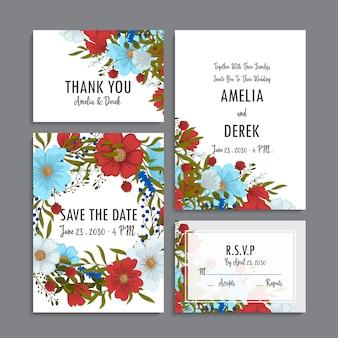 Modello di matrimonio floreale - carte floreali blu, rosse e bianche