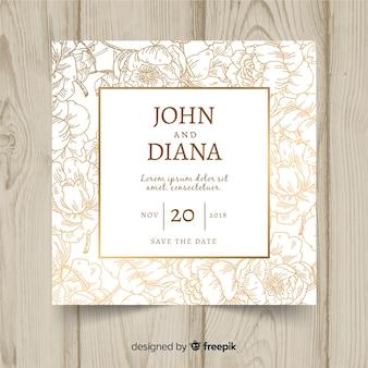 Modello di matrimonio floreale con elementi dorati