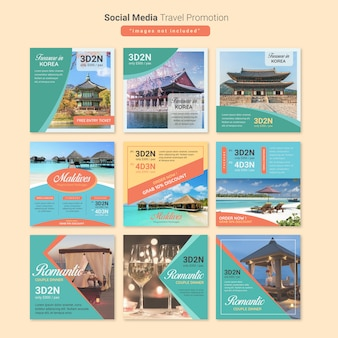 Modello di media di viaggio tour social media