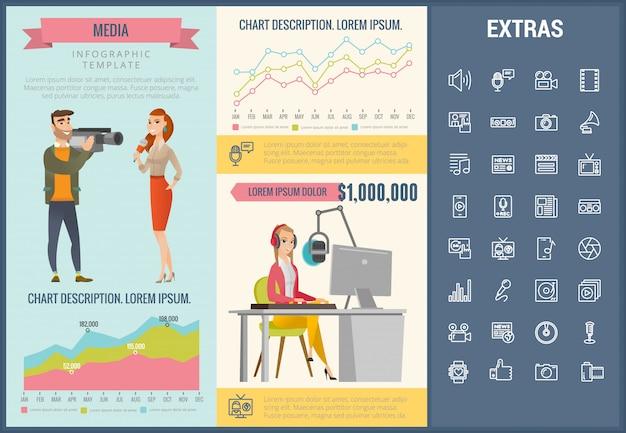 Modello di media infografica, elementi e icone