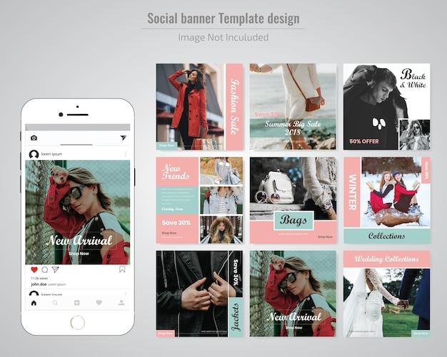 Modello di media sociali di moda rossa