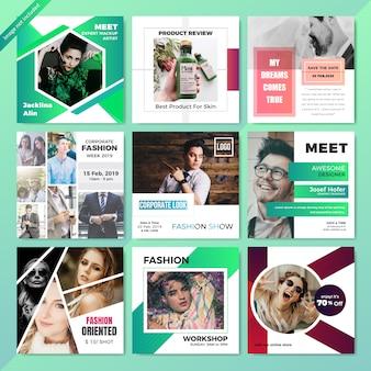 Modello di media sociali di moda web