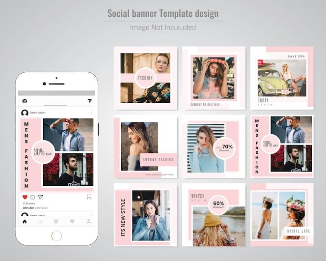 Modello di media sociali di moda