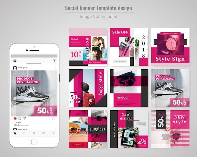 Modello di media sociali di vendita di prodotti di moda