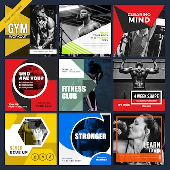 Modello di media sociali gymnesium & fitness