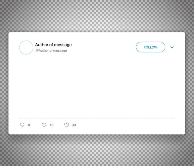 Modello di media sociali moderni post isolato su bianco