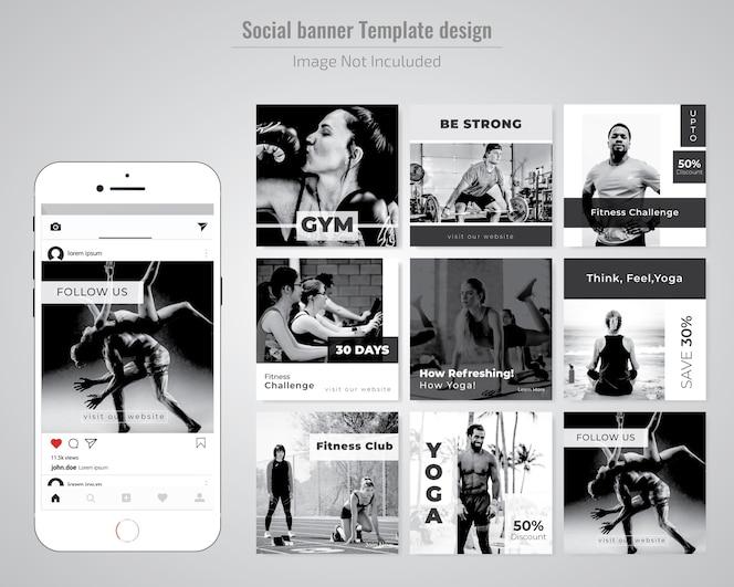 Modello di media sociali palestra, palestra e yoga