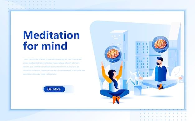 Modello di meditazione per la mente piatta pagina di destinazione della homepage