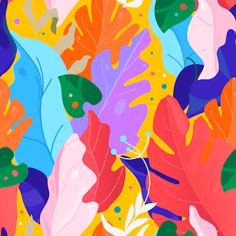 Modello di memphis modello senza cuciture floreale creativo contemporaneo. collage. illustrazione di piante di giungla esotica vettoriale.
