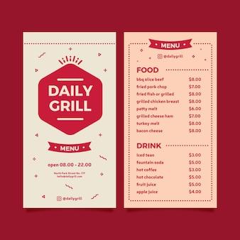 Modello di menu alla griglia per ristorante