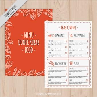 Modello di menu arancione con schizzi cibo arabo