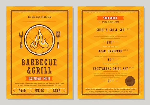 Modello di menu barbecue e grill
