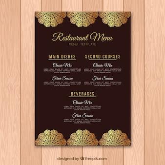 Modello di menu bella con elementi dorati