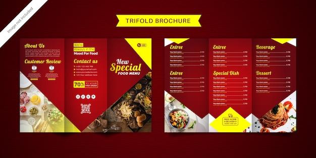 Modello di menu brochure a tre ante cibo.