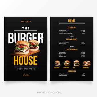 Modello di menu burger house