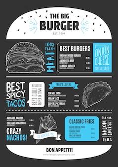 Modello di menu burger in stile lavagna