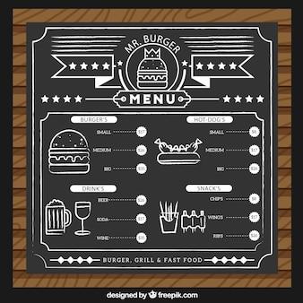 Modello di menu burguer