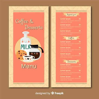 Modello di menu caffetteria