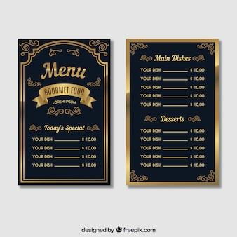 Modello di menu classico con stile vintege