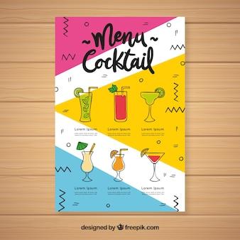 Modello di menu cocktail con bevande diverse