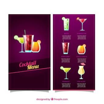 Modello di menu cocktail con design piatto
