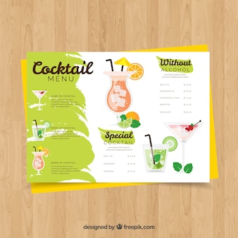 Modello di menu cocktail con design piatto