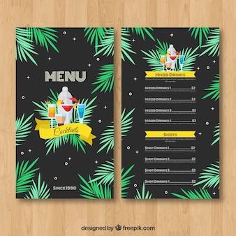 Modello di menu cocktail con foglie di palma