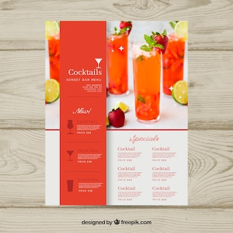 Modello di menu cocktail con foto