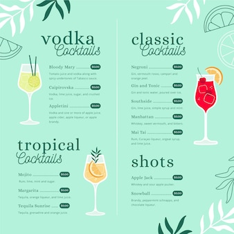 Modello di menu cocktail creativo con illustrazioni