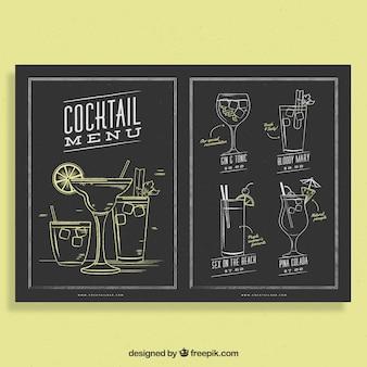Modello di menu cocktail stile lavagna