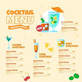 Modello di menu cocktail