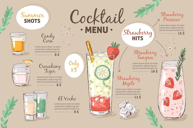 Modello di menu cocktail