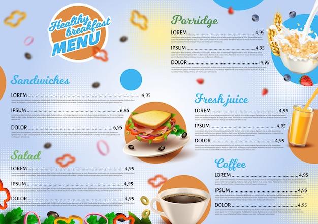 Modello di menu colazione sana per ristorante