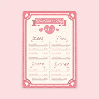 Modello di menu colorato di san valentino