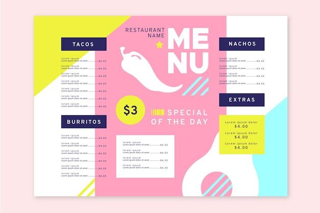 Modello di menu colorato per ristorante